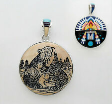 CUTE BEAR HUGGING CHILD PENDANT IN .925 SILVER IN TURQUOISE/MULTICOLOR INLAY