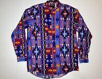 Frontier Series Shirt 90s Western Wild Aztec Cowboy Print LT
