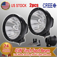 "2pc 7"" inch 45W Cree LED Driving Lights Headlight for Offroad ATV Boat 4x4 Truck"
