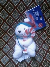 New Hallmark North Pole White Polar Bear Ear Flap Hat Plush XMas Ornament 2014