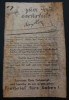 Original USA WW2 Surrender Leaflet Dropped on German Troops We Notice Aachen