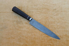 custom forged damascus steel raindrop barbecue kitchen knife brown wood handle 7