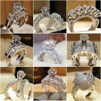 Women 925 Silver White Sapphire Ring Fashion Wedding Engagement JewelrySize 5-11