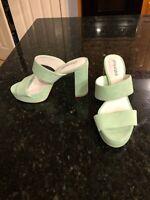 Jeffrey Campbell Adriana Platform Heeled Suede Sandal Pastel Green, Size 8.5 NEW