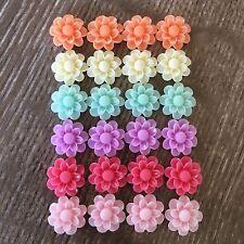 24x 13mm Daisy Flower Resin Cabochon Flatback Embellishments - Pastel
