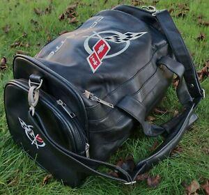 Stunning CHEVROLET CORVETTE Leather DUFFEL BAG, GM w/ Shoulder Strap