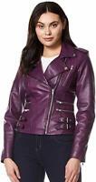 HOT New Women's Stylish Genuine Lambskin Real Leather Biker Jacket Purple Slim