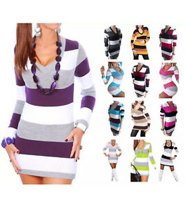 knitted jumper dress womens knitted jumper stripe v neck plus size jumper N38
