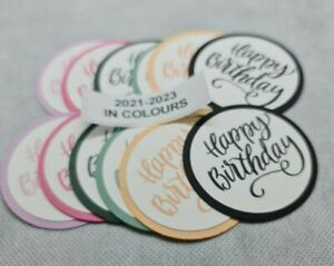12 PRINTED HAPPY BIRTHDAY LABEL DIE CUTS....STAMPIN UP IN COLOUR 2021-2023