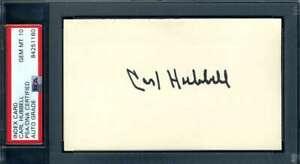 Carl Hubbell Gem Mint 10 PSA DNA Coa Autograph Hand Signed 3x5 Index Card