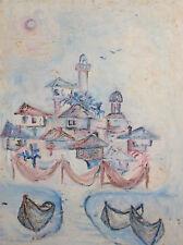 Vintage Oil Painting Fauvist Landscape Seascape Boats