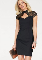 Black Fitted Scuba Fabric Bodycon High Neck Party Dress with Lace Shoulders