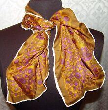 Vintage Bellissimo Sciarpa di Seta Quadrato Mano Orlo Arrotolato Giallo Senape