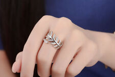 Womens Fashion Solid 925 Sterling Silver Zircon Leaf Band Ring Size 8 Adjustable
