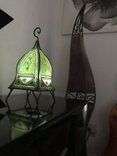 Small Moroccan Green leather lamp handmade decoration