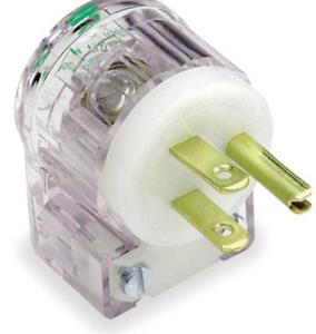 Leviton 8215-CAT 15 Amp 125 Volt Hospital Grade Angle 3 prong Plug Transparent