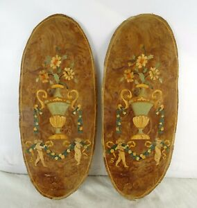 French Antique Superb Wood Marquetry Ornamentation Never used Cherubs 19th
