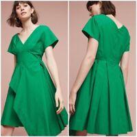 $138 Anthropologie Seamed Poplin Draped Dress By Maeve Green Sz 10P Petite