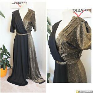 Vintage  Original 70s Gold & Black Wrap Goddess Maxi Party Dress Size 14