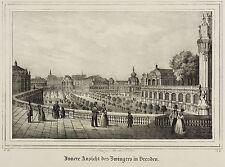 Dresde-perrera-Zwingerhof-Saxonia - litografía 1841