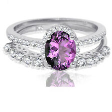 Oval Amethyst Thin Clear CZ Engagement Sterling Silver Ring Set