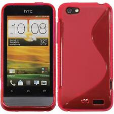 Coque en Silicone HTC One V - S-Style rose chaud + films de protection