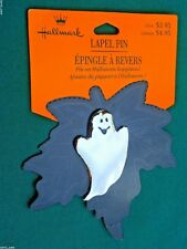 HALLMARK Halloween PIN GHOST w SMILE SILVER TONE METAL HOLIDAY LAPEL PIN-NOC