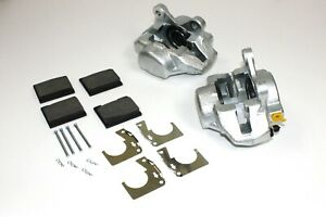 PAIR NEW FRONT BRAKE CALIPERS, PADS & FITTING KIT TRIUMPH SPITFIRE MK3,IV & 1500