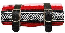 MEXICAN SERAPE - ROLL UP BLANKET BLACK ALLIGATOR LEATHER BELTS RED  LA ROSA