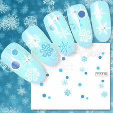 Nail Art Water Decals Transfers Stickers Christmas Xmas Snowflakes Baubles T111