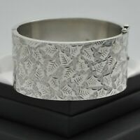 1884 Victorian Antique Aesthetic 1/2 Engraved Leaf Design Silver Bangle Bracelet