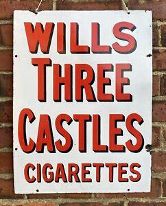 Antique Vintage c1930s Original Wills Three Castles Enamel Advertising Shop Sign
