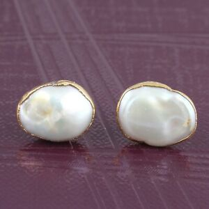 Natural White Pearl Yellow Gold Plated MOP Handmade Stud Earrings For Girls