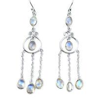 black friday sale 10.78cts natural rainbow moonstone dangle earrings p60543