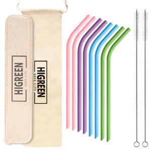 8 Silicone Drinking Reusable Straws + Cleaner Brush Kit+ Case + bag New!!