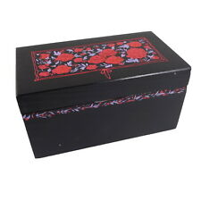 "Hand Painted Wooden Keepsake Box Red Flowers Design  6 1/4"" x 3 1/2"" x 3 1/4"""