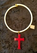 Vintage CORO Plastic Choker Necklace White Red Cross White w/Tags