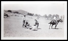 VINTAGE COWBOY STUDIO B & W PHOTO- BRANDING CALVES 1930's-1940's