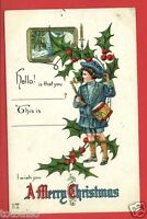A MERRY CHRISTMAS DRUMMER BOY TALKING ON CANDLESTICK TELEPHONE 1913   POSTCARD