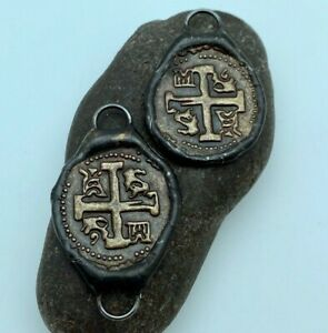 Pirate Doubloon Hand Soldered Brass Pendant or Connector(Cross Potent) (SMP24)