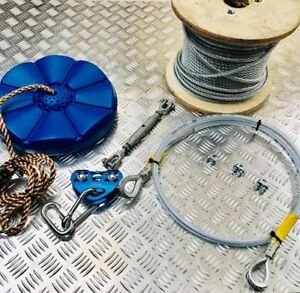 DIY Domestic/Commercial Zip Line Complete Kit Galvanized Steel Wire 8mm 20m-100m
