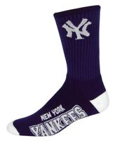 New York Yankees For Bare Feet MLB 4 Stripe Deuce Crew Socks SZ Large