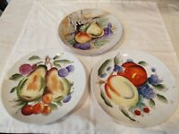 "Japanese Hand Painted Fruit Wall Plates 8"" across set of three"