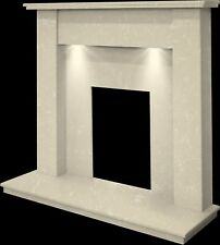 MARBLE CREAM STONE SURROUND GAS FLAME FIRE MODERN FIREPLACE SUITE SPOTLIGHTS