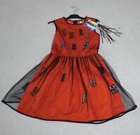 MSGM KIDS Girl Freedom Tutu Dress - Black Tulle - Orange - Size 14 *NEW w/ Tag*
