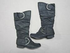NAUGHTY MONKEY WOMENS BLACK HIGH ZIP UP BOOTS SHOES SIZE 7.5 GENTLY PREOWNED