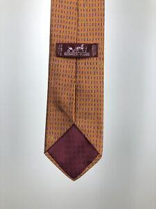 Hermes Paris Orange Woven Neck Tie