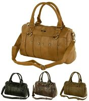 New Womens Ladies Studded Lorenz Real Cowhide Leather Handbag Tote Shoulder Bag