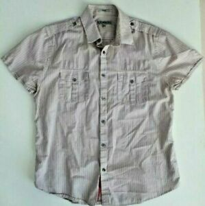 Express Men's Short Sleeve Fitted Red Stripe Shirt ( L ) 16-16.5