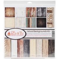 "Reminisce Ella & Viv Collection Kit 12""X12""-Wood Backgrounds, EAV800"